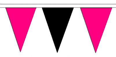Pink and Black Traditional 20m 54 Flag Polyester Triangle Flag Bunting